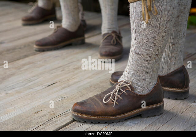 Tyrolean traditional costume, detail of the feet, South Tyrol, Italy, Europe - Stock-Bilder
