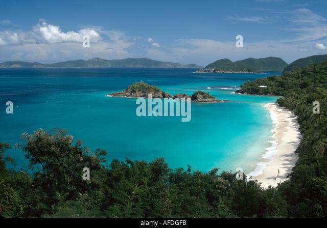 US Virgin Islands St. John Virgin Islands National Park Trunk Bay Trunk Beach view from North Shore Road USVI006 - Stock Image