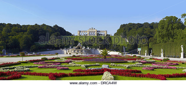 the garden of the schoenbrunn palace with the gloriette, vienna city, austria, europe - Stock Image