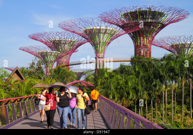 Singapore Gardens by the Bay park Supertrees elevated walkway umbrellas using sun shade - Stock Image