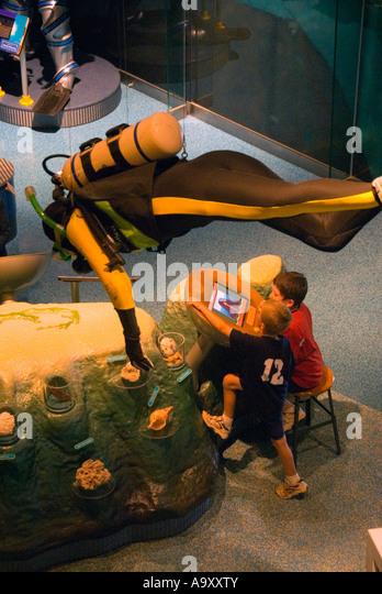 Bermuda Hamilton Bermuda Underwater Exploration Institute boys at exhibit - Stock Image