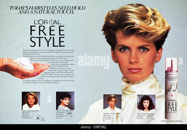 1980s fashion magazine double page advertisement advertising L'OREAL FREE STYLE MOUSSE for hair, advert circa - Stock-Bilder