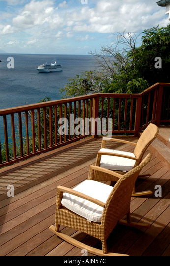 VACATION Holiday Tropics Porch Chairs Cruise Ship - Stock Image