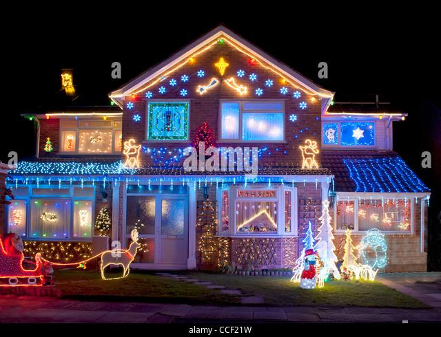Christmas Lights House Uk Stock Photos Christmas Lights House Uk Stock Images Alamy