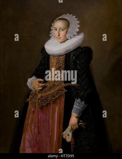 Portrait of Aletta Hanemans, by Frans Hals, 1625, Royal Art Gallery, Mauritshuis Museum, The Hague, Netherlands, - Stock Image
