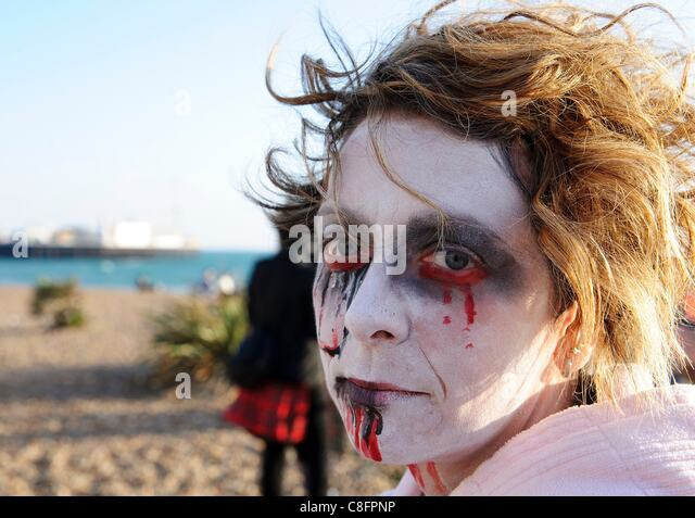 Thousands of Zombies gathered in Brighton on 22nd October 2011 for Beach of the Dead V - The Brighton Zombie Parade - Stock Image