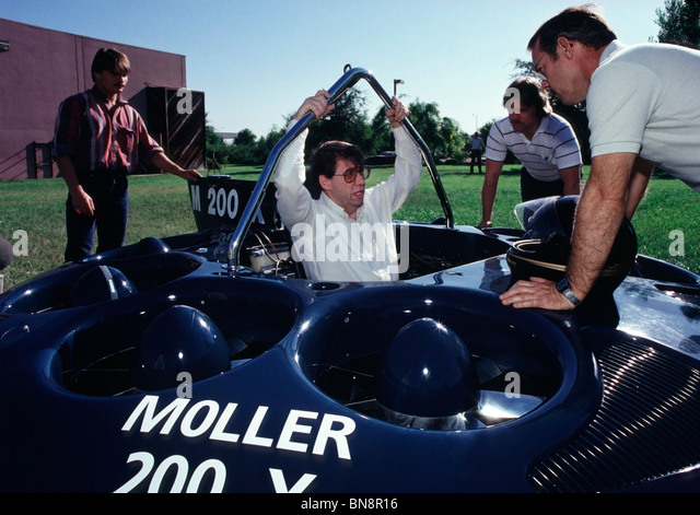 Dr. Paul Moller sitting in the Moller M200X before flying the VTOL prototype in Davis, CA. in August of 1988 - Stock Image