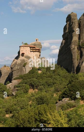 St. Nicholas Anapafsa (St. Nicholas Anapausas) monastery, Meteora, UNESCO World Heritage Site, Thessaly, Greece, - Stock-Bilder