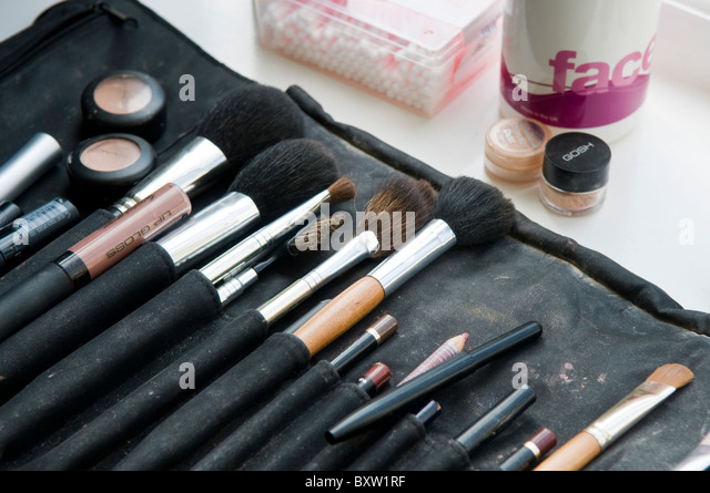 A professional makeup artists brush pouch with a collection of brushes - Stock Image