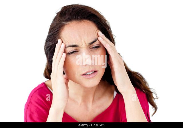Downcast woman having a headache - Stock Image