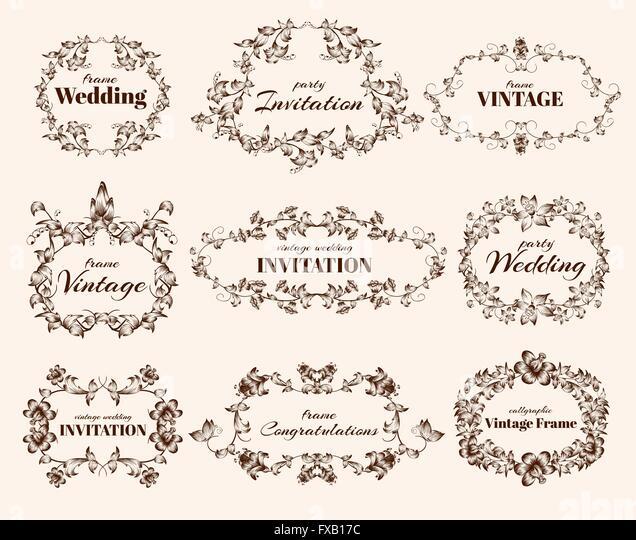 Vintage calligraphic frames - Stock Image