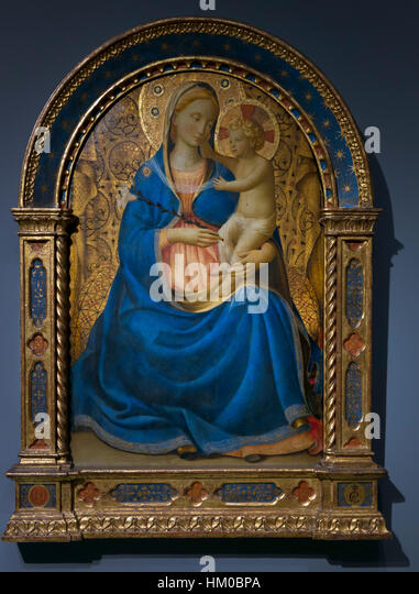 Madonna of Humility, by Fra Angelico, circa 1440, tempera on panel, Rijksmuseum, Amsterdam, Netherlands, Europe, - Stock Image