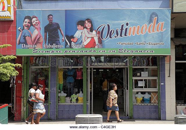 Santo Domingo Dominican Republic Avenida Duarte business garment district apparel fashion store storefront shopping - Stock Image