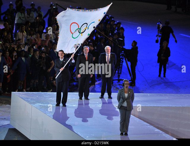 Eduardo Paes (Mayor of rio, left), Jacques Rogge (President IOC, center) and Boris Johnson (London Mayor). Closing - Stock Image