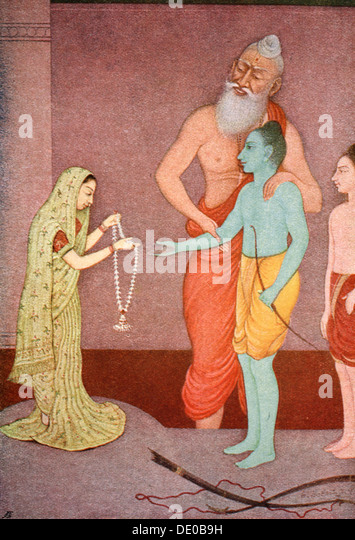 Rama's Marriage, 1913.  Artist: K Venkatappa - Stock Image