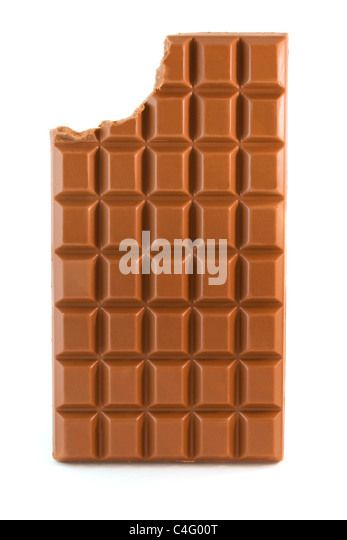 Milk chocolate bar with missing bite isolated over white - Stock Image