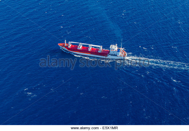 High angle view of bulk carrier ship on the ocean - Stock Image
