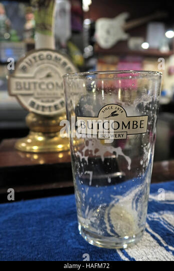 Butcombe bitter on a bar in Somerset, England, UK - Stock Image