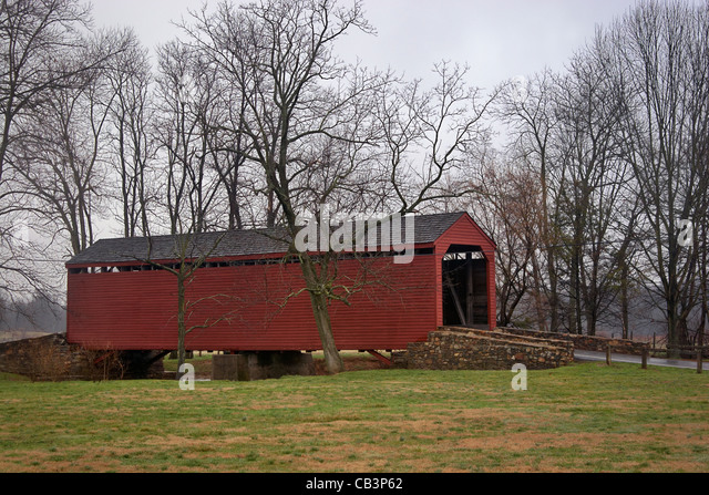 The covered bridge at Loy's Station, Frederick, Maryland. - Stock Image
