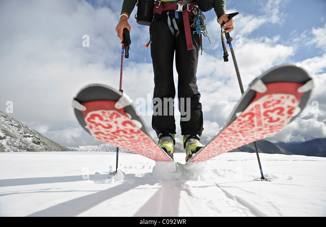 Close up of a backcountry skier on the glacier on the north side of Mt. Chamberlin, Brooks Range, ANWR, Arctic Alaska, - Stock Image
