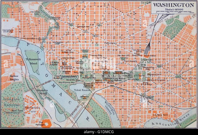 Map of Washington D.C. during the 20th Century - Stock Image