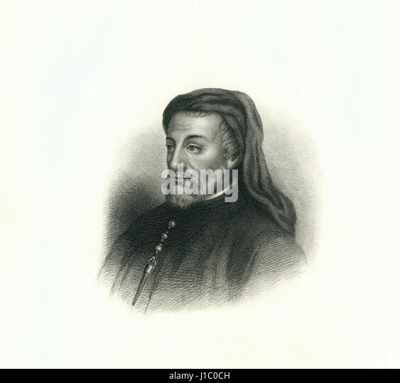 Geoffrey Chaucer (1343-1400), English Poet,  Engraving, 1876 - Stock Image