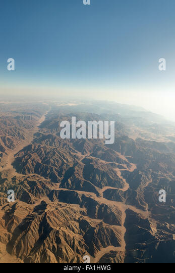 Range of mountains in Sinai from aerial view - Stock Image