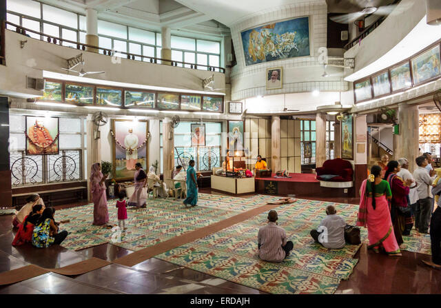 India Asian Mumbai Breach Candy Cumballa Hill Shri Sadhubella Krishna Temple religion religious inside - Stock Image