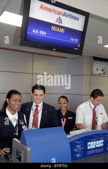 Panama City Panama Aeropuerto Tocumen airport PTY aviation terminal American Airlines international flight to Miami - Stock Image