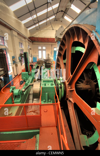 Coal Mine Grant, Ritchie and Company Winding engine (largest in Scotland) Midlothian Mining Museum, UK - Stock Image