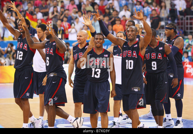 United States team group USA AUGUST 24 2008 Basketball Beijing 2008 Olympic Games Mens Basketball Final match between - Stock Image