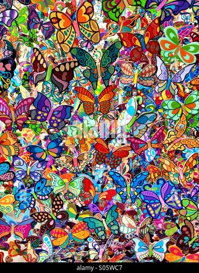 Wallpaper pattern of colorful butterflies - Stock Image