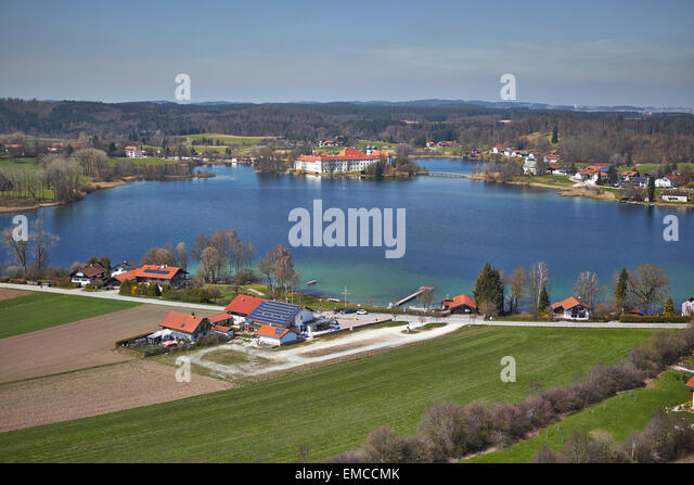Germany, Bavaria, Aerial view of Seeon Abbey at lake Chiemsee - Stock Image