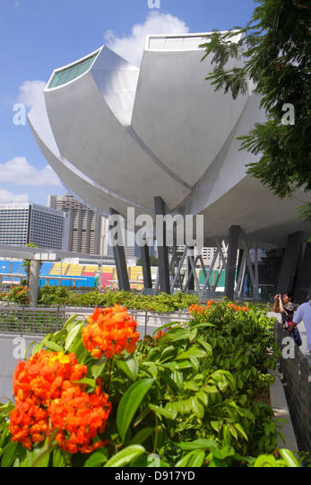 Singapore ArtScience Museum architecture design outside exterior - Stock Image