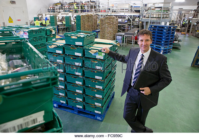 Portrait confident bank manager leaning on stacked bins in food processing plant - Stock Image