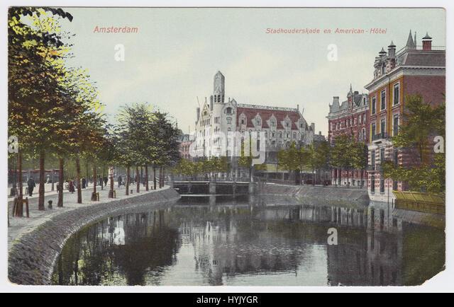 American Hotel & Singelgracht, Amsterdam, Netherlands - Stock Image