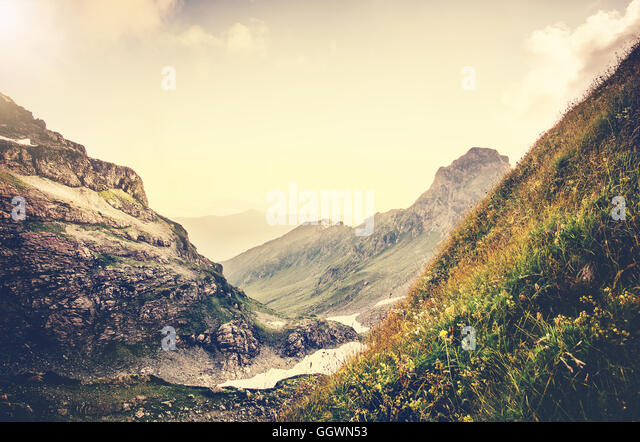 Rocky Mountains Landscape Summer Travel scenic view in Abkhazia - Stock Image