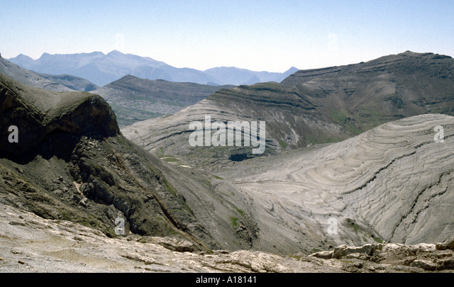 Folded rock strata, Pyrenees, Spain - Stock Image