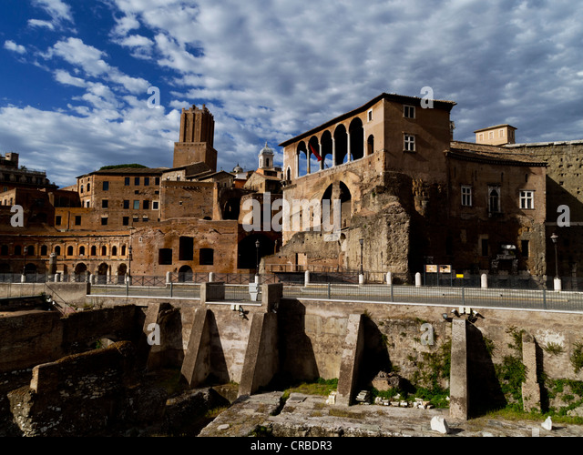 Forum of Augustus (left) and the Loggia of the Palace of the Knights of Malta, Rome, Italy - Stock Image
