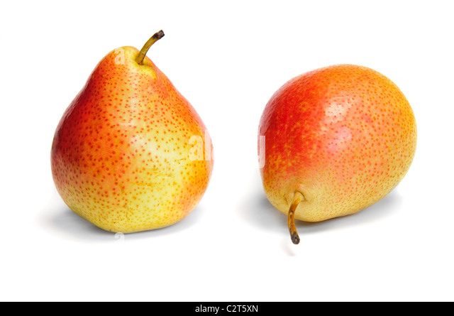Two pear isolated over white - Stock Image