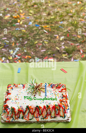 Close-up of a birthday cake on a table - Stock-Bilder