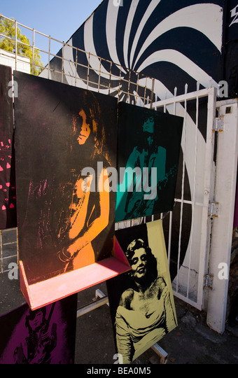 Paintings of celebrities at a Sunset blvd. Shop. Los Angeles, California, United States of America - Stock Image