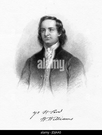 Engraved portrait of William Williams, merchant and soldier who served as a member of the Continental Congress and - Stock Image