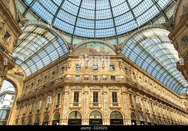 Atrium and shops, Galleria Vittorio Emanuele, Milan, Italy - Stock Image
