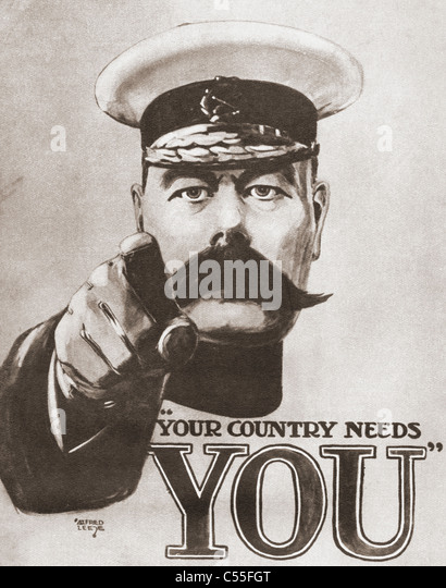The 1914 British wartime recruitment poster depicting Lord Kitchener with the words 'Your Country Needs You'. - Stock Image