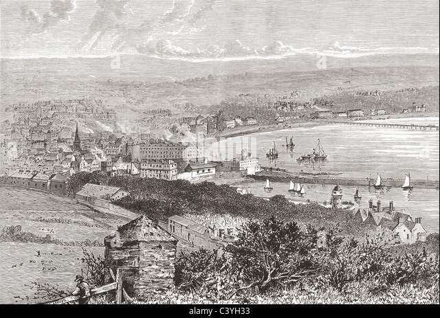 Douglas Bay, Isle of Man, in the late 19th century. - Stock Image