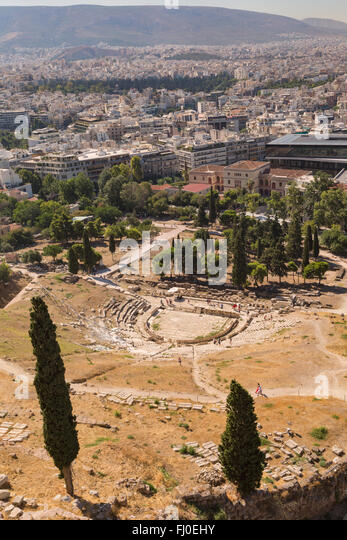 Athens, Attica, Greece.  Theatre of Dionysos, seen from the Acropolis.  Considered to be the birthplace of Greek - Stock Image