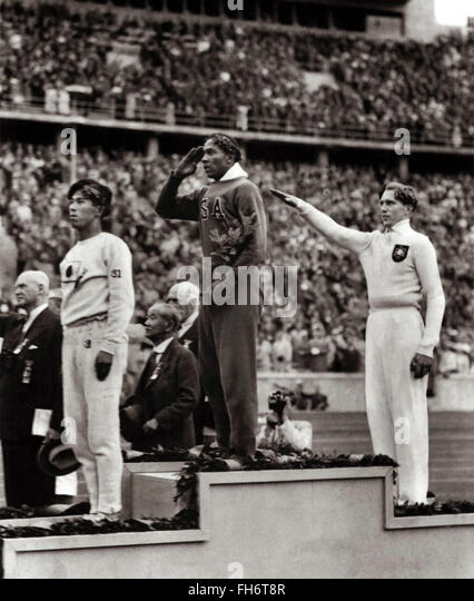 Jesse Owens wins gold in Nazi Germany Olympic Games 1936 - Stock Image