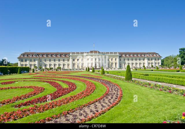 Schloss Ludwigsburg Palace, Blossoming Baroque gardens, Neckar, Baden-Wuerttemberg, Germany, Europe - Stock-Bilder