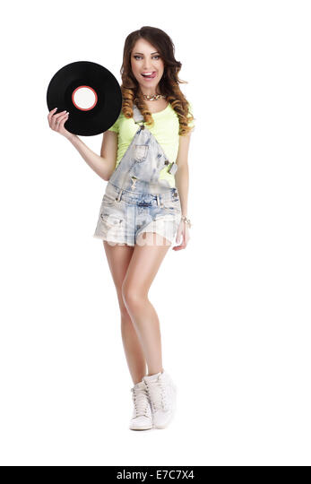 Happy Funny Woman with Vinyl Record Licking her Lips - Stock Image